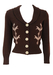 Vintage 70's Brown Fitted Cardigan with Cream Knit Pattern - XS/S