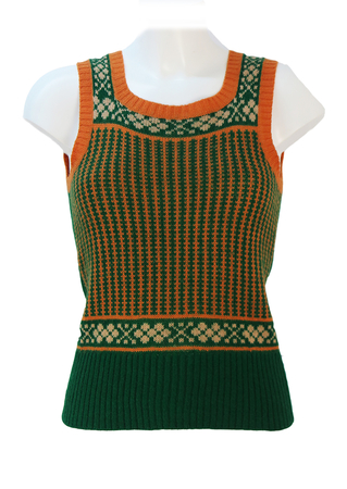Vintage 70's Green & Orange Patterned Round Neck Tank Top - XS/S