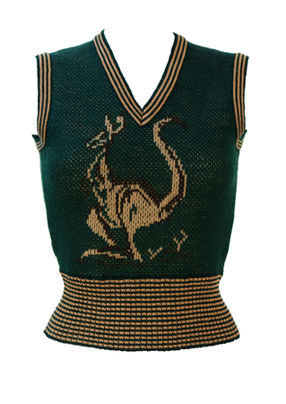 Vintage 70's Woodland Green & Beige Tank Top with Kangaroo Image - XS/S