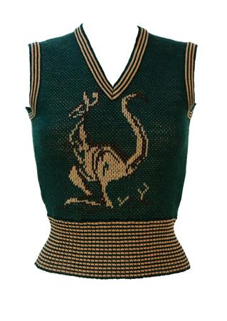 Vintage 70's Woodland Green & Beige Tank Top with Kangaroo Image - XS/S