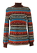 Vintage 70's Roll Neck Jumper with Striped Pattern in Brown, Red, Orange & Green - S/M