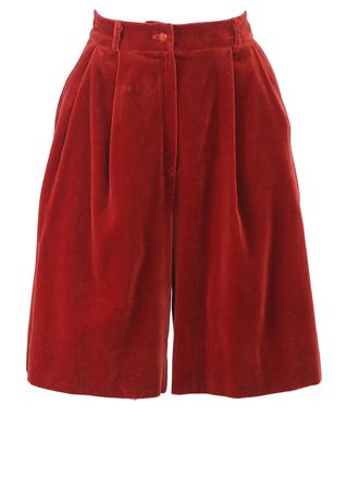 Russet Coloured Velvet Culottes - S/M