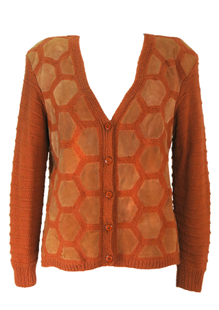 Vintage 70's Russet Orange Wool Cardigan with Suede Geometric Honeycomb Pattern - M/L