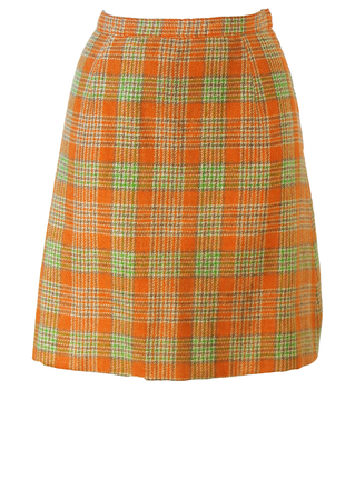 Vintage 60's Orange, Green & Grey Check Tweed Mini Skirt - XS