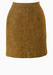 Pure Wool Mini Pencil Skirt in Brown, Orange & Green Tweed - S