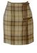 Max Mara 'Penny Black' Brown Check Tweed Mini Kilt Skirt with Suede Buckles - S