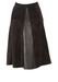 Vintage 70's Brown Suede A-Line Midi Skirt with Central Leather Panel Detail - S/M
