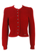 Geiger Tyrolean Red Textured Pure Wool Cardigan with Decorative Buttons - XS/S