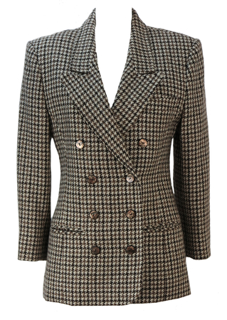 Cream & Brown Double Breasted Houndstooth Check Wool Jacket - S/M