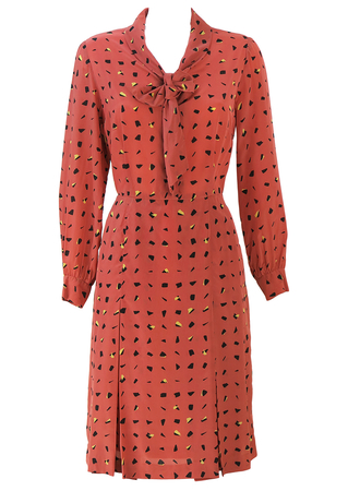 Vintage 60's Salmon Pink Midi Dress with Yellow & Black Abstract Pattern & Pussy Bow - M