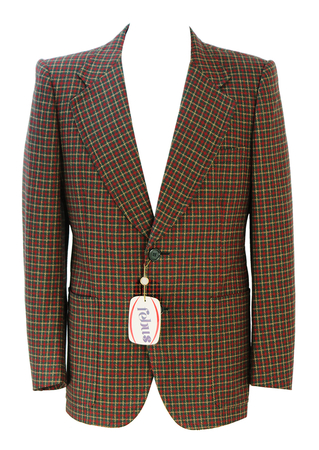 Vintage 70's Tweed Check Blazer in Green, Ochre & Red - New - M/L