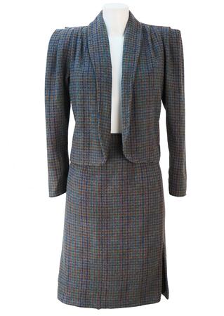 Jacket & Skirt Two Piece Suit in Grey, Green, Blue & Brown Tweed Check - M