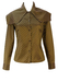 Romeo Gigli Brown & Gold Asymmetric Striped Blouse with Cape Collar - S/M