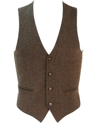Beige & Brown Herringbone Pattern Waistcoat - XS/S