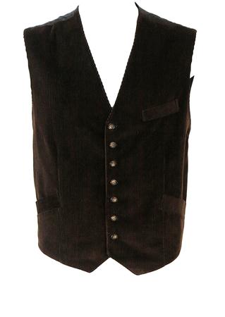 Dark Brown Corduroy Waistcoat - L