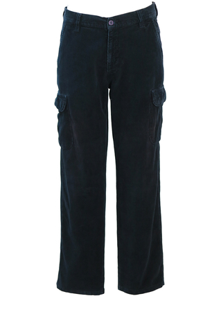 Navy Blue Cargo Corduroy Trousers - 32""