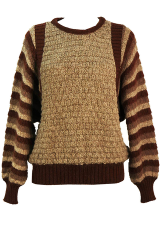 Vintage 80's Batwing Brown, Cream & Grey Jumper with Striped Sleeves - M/L