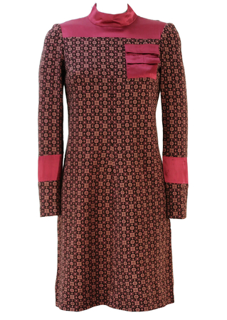 Vintage 60's Long Sleeved Brown Mini Dress with Green & Pink Floral Motif Pattern - S/M