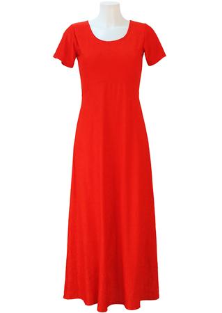 Orange Short Sleeved Velour Maxi Dress - S/M