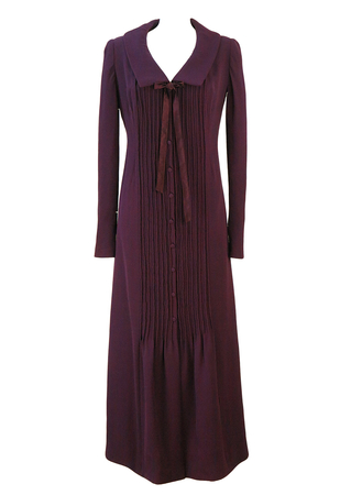 Vintage 70's Long Sleeved Purple Crepe Maxi Dress with Piping Detail - M