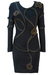 Luciano Pavarotti & Angela Gavioli Long Sleeved Black Bodycon Dress with Floral Zip Pattern - XS/S