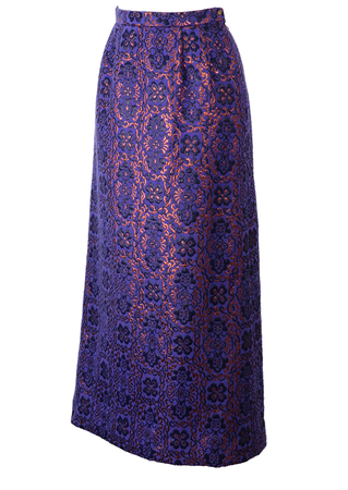 Vintage 60's Purple Tyrolean Maxi Skirt with Metallic Copper Floral Pattern - S/M