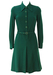 Vintage 60's Green Long Sleeved Button Front Jersey Midi Dress - S/M