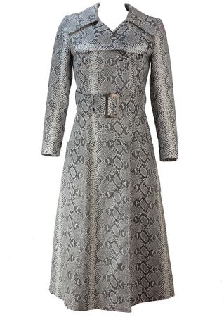 Vintage 70's Grey & White Faux Snakeskin Full Length Belted Coat - S