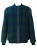 Blue & Green Tartan Check Wool Bomber Jacket with Quilt Lining - L