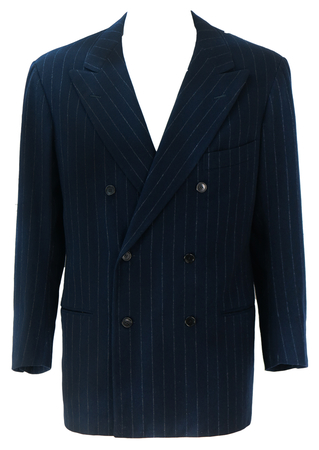 Navy Blue Chalk Stripe Double Breasted Tailored Jacket with Peak Lapel - L
