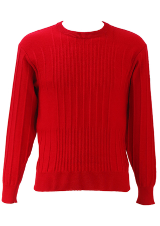 Fila Red Knit Jumper with Striped Knit Pattern & Sleeve Badge - S/M
