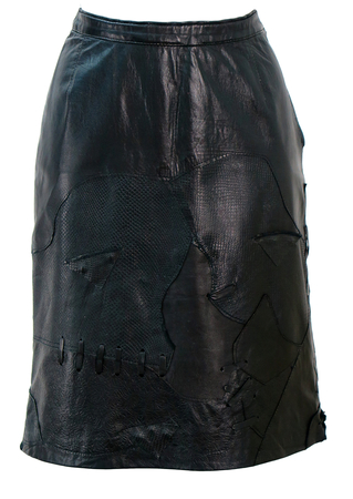 Black Leather Knee Length Pencil Skirt with Applique Patchwork Detail - S/M