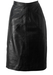 Black Leather Below the Knee, Midi Skirt with Front Hidden Seam Pockets - M