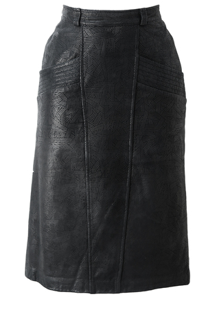 Black Leather Midi Pencil Skirt with Two Tone Striped Geometric Pattern - S/M