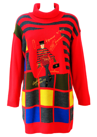 Vintage 90's Red, Blue & Yellow Roll Neck Jumper / Mini Dress with Fashionista Imagery - M/L