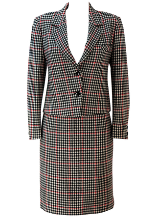 Black, White & Red Dogtooth Check Skirt & Jacket Two Piece Suit - S