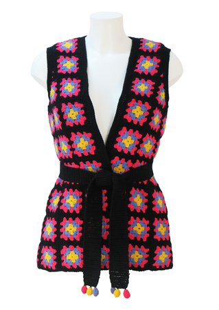 Vintage 70's Black Crochet Waistcoat with Pink, Lilac & Yellow Pattern & Matching Belt - M