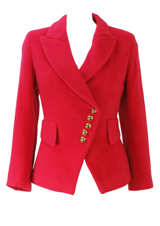 Coral Pink Fitted Wool Jacket with Asymmetric Gold Button Detail - S
