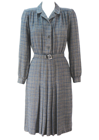 Vintage 1940's style Long Sleeved Tea Dress with Black, White & Blue Prince of Wales Check - S/M