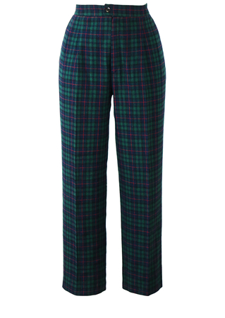 Blue, Green & Red Tartan Check Trousers with Pleat Front Detail - S