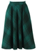 Green & Blue Tartan Check Flared Midi Length Skirt - XS/S