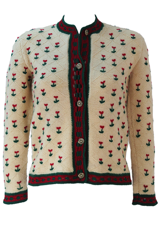Tyrolean Cream Wool Cardigan with Red & Green Floral Pattern & Crochet Trim - S