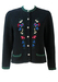 Tyrolean Black Wool Cardigan with Bird & Flower Tapestry Pattern - M/L