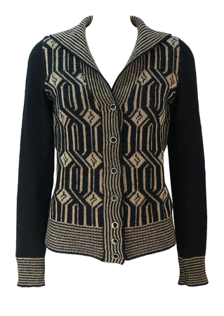 Vintage 70's Black & Beige Cardigan with Geometric Pattern & Striped Trim - S