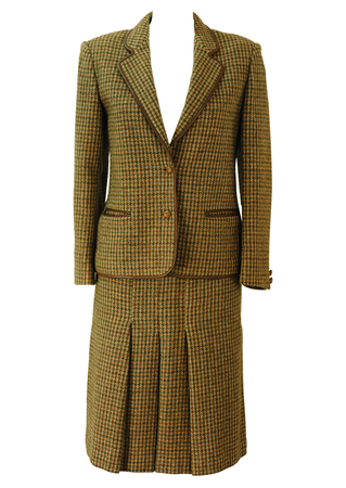Brown & Green Tweed Check Skirt & Jacket Two Piece with Leather Trim - S/M
