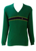 Valentino Sport Green Ribbed V Neck Jumper with Striped Detail - M/L