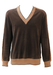 Brown Velour V-Neck Jumper with Camel Edging & Cable Knit Sleeve Detail - M/L