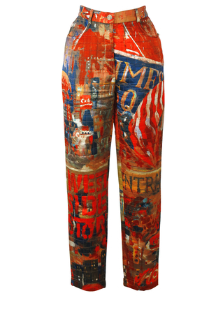 Iceberg New York Broadway / West Side Story Themed Quilted Trousers - S