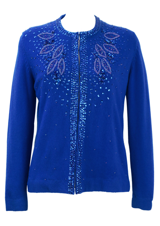 Electric Blue Cardigan with Intricate Bead & Sequin Detail - M/L