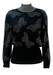 Black Jumper with Multicoloured Glitter High Neck & Glitter Butterfly Pattern - M
